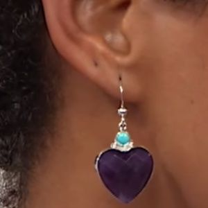 Jay King AMETHYST and TURQUOISE Heart Earrings